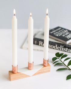 Copper + Wood Candleholders | Historias de Casa