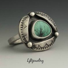 Turquoise Ring, Sterling Silver Ring, Metalsmith Jewelry, Handmade Jewelry, Statement Ring