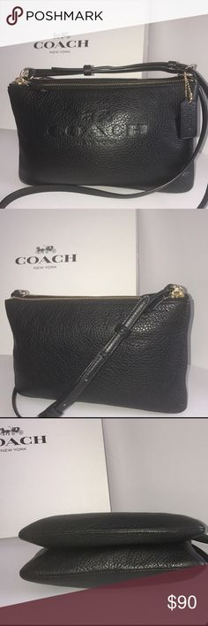 Authentic Coach Pebble Leather Lyla Crossbody Like NEW! Perfect condition Coach Lyla Double Gusset Crossbody, F52720 Black with gold hardware, Pebble leather, 2 separate Zip-top closures , black fabric lining, Strap for shoulder or crossbody wear 