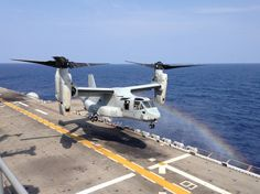 An MV-22 Osprey aircraft from Marine Medium Tiltrotor Squadron (VMM) 265 (Reinforced) lands on the deck of the forward-deployed amphibious assault ship USS Bonhomme Richard (LHD 6). Bonhomme Richard is the flagship of the Bonhomme Richard Amphibious Ready Group and is conducting a certification exercise with the 31st Marine Expeditionary Unit (MEU) and Commander Amphibious Squadron Eleven in the U.S. 7th Fleet area of operations.  #USNavy