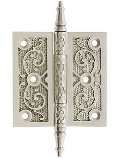 "Ornate Hinges. 3 1/2"" Cast Iron Steeple Tip Hinge With Decorative Vine Pattern $13"