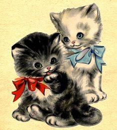 Winter Cat, Kitten Toys, Famous Artwork, Cat Cards, Animal Cards, Vintage Cat, Vintage Greeting Cards, Christmas Cats, Vintage Children