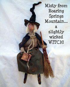 Slightly Wicked Witch  folk art primitive doll  JoAnn Palmer Hootnhollaprims