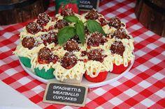 Italy/Pizza/Pasta/Italian Chef  spaghetti & meatball cupcakes. 1st seen this a few years ago on Hello Cupcake App  http://leoniescakesandparties.blogspot.com/2013/11/italian-party.html?m=1