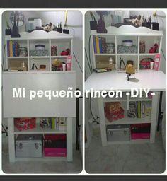 3 muebles en 1:escritorio plegable,cómoda y estantería  con departamentos. DIY THANKS SISTER!!