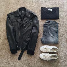 Black moto leather jacket | black t shirt | grey torn jeans | white comme de garçons converse lows