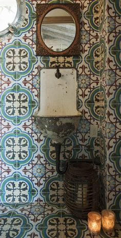 Cement tile wall/backsplash