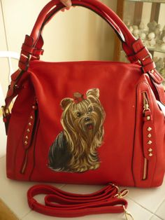Handpainted Yorkie Red Handbag Painting Purse Dog Art Misspaintsalot Yorkshire