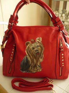 Handpainted Yorkie Red Handbag Painting Purse Dog Art Misspaintsalot Yorkshire