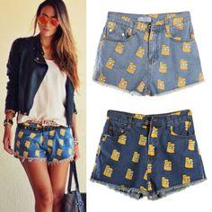 Women Simpsons Print Jeans Denim Shorts