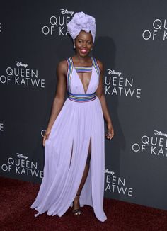 Gorgeous: The Oscar-winning actress looked mesmerizing in her stunning plunging lilac gown. African Attire, African Wear, African Women, African Dress, African Inspired Fashion, African Fashion, Style Africain, African Beauty, Beautiful Black Women