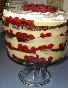 Gingerbread Trifle. (homemade gingerbread, vanilla custard, raspberry)