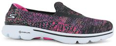 Colorful and Comfortable Skechers® 14057 GOwalk 3:<br/>colorful mesh fabric upper, easy slip-on wear, Skechers® structured breathable mesh for cooling comfort, Memory Form Fit design with Memory Foam padding around heel for a custom-feel fit, Resalyte® Midsole - proprietary lightweight injection-molded compound with memory retention helps absorb impact, GO Pillars technology on midsole and outsole Shoe Show, Mesh Fabric, Skechers, Sd, Memory Foam, Footwear, Slip On, Shoe Bag, Heels