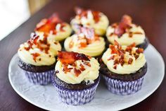 Chocolate Beer Batter Cupcakes with Maple Bacon Frosting