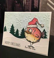 "DIY Tim Holtz ""MERRY CHRISTMAS"" Bird Crazy Santa Handmade Card Kit- 4 cards"