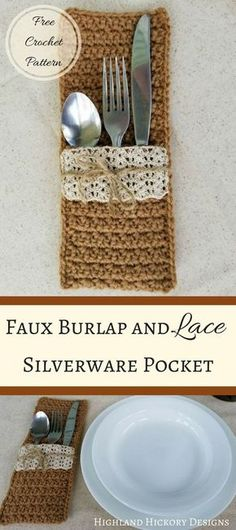 SILVERWARE CRAFTS CROCHET: Faux Burlap and Lace Silverware Pockets; Planning a country wedding?This faux burlap and lace silverware pocket will look great on your dining table! Beginner-friendly, free and doable in less than an hour! Easy Crochet Patterns, Crochet Designs, Crochet Ideas, Easy Patterns, Crochet Projects, Crocheting Patterns, Square Patterns, Crochet Gifts, Free Crochet