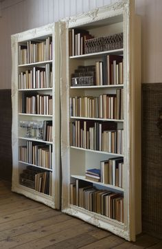 What a fantastic idea for bookshelves!  And I kind of like the books being shelved backward . . .