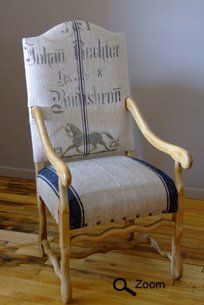 German Striped Grain Sack with Stencil. Like the added large upholstery tacks across the front.    by: Maison Suzanne.com