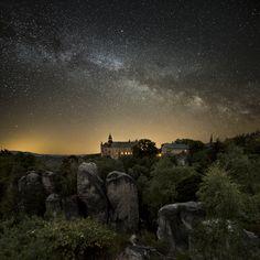 Zámecká vyhlídka v noci, Hruboskalsko | Český ráj