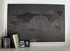 world map to scribble on and colour- in personalised info... http://nownever.bigcartel.com/product/world-map-ver-black