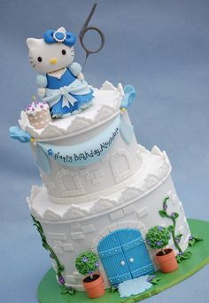 A Hello Kitty castle for Alexandria, whose favourite colour is blue. Hello Kitty is modeled from Wilton fondant and I used the Wilton orange mould for the crenelations on the castle. The cake is based on one by the wonderful Yummy Cupcakes. I have...