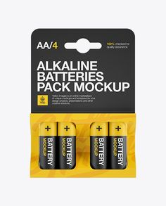 4 Pack Mat Battery AA Mockup – Front View