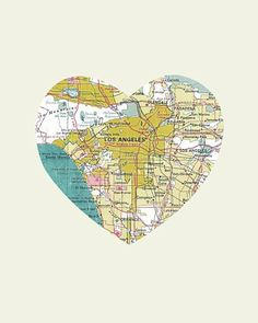 Los Angeles Art City Heart Map   8x10 Art Print by LuciusArt