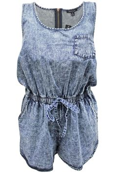 Sleeveless denim romper with acid wash detail. Content + Care: - 60% Cotton, 40% Polyester - Machine Washable - Made in China