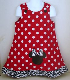 zebra Minnie Mouse jumper ruffle Mickey Disney dress toddler infant baby clubhouse polka dot party birthday red black