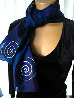 """Hand dyed 15×60 inch Habotai silk scarf in dark blue, with pink and green undertones, and silver spirals.       Famous Words of Inspiration...""""The Internet is a giant international network of intelligent, informed computer enthusiasts, by which I mean, people without... more details available at https://perfect-gifts.bestselleroutlets.com/gifts-for-holidays/homemade/product-review-for-hand-dyed-dark-blue-silk-scarf-with-silver-spirals-15x60-inches/"""
