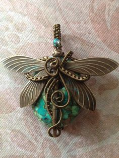 Dragon Fly Mosaic Turquoise Necklace by suzanneshores on Etsy, $55.95