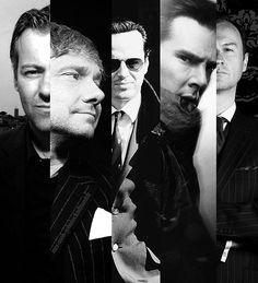 Men of Sherlock. Lestrade, Watson, Moriarty, Sherlock and Mycroft Holmes.