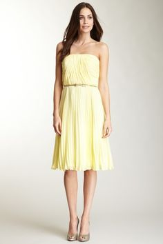 Donna Morgan Multi Directional Belted Bust Dress in Banana Cream on HauteLook