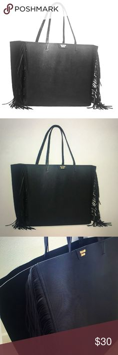 Victoria's Secret black rocker chic XL tote fringe VS with edge! Extra large black VS tote with fringe on edges. Excellent, gently used condition! 🌟🌟 Victoria's Secret Bags Totes