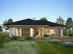 278 000 zł Modern Bungalow House, Small House Exteriors, Bungalow House Plans, New House Plans, Dream House Plans, Three Bedroom House Plan, Architectural House Plans, Rest House, Village Houses