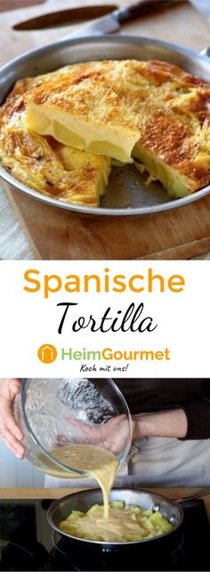 Dieses spanische Originalrezept für Tortilla mit Ei und Kartoffeln kann sowohl … This original Spanish recipe for tortilla with egg and potatoes can be eaten hot or cold. So you just have the specialty of the tapas bar on your plate. Steak Dinners For Two, Meals For Two, Omelette, Egg Recipes, Cooking Recipes, Tapas Party, Dessert For Two, Tortilla Recipe, Easy Party Food