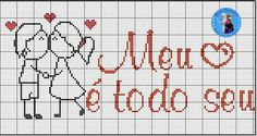 Ponto cruz Cross Stitching, Cross Stitch Embroidery, Cross Stitch Heart, Crochet Quilt, Love And Marriage, Perler Beads, Love Heart, Crochet Patterns, Bullet Journal