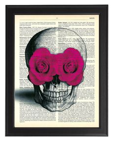 SKULL WITH PINK ROSES IN EYES…