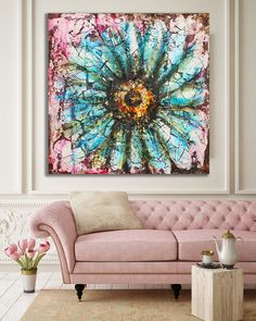 Original Floral Colorful Sunflower Painting / Mixed Media Textured Painting / Abstract Flower Contemporary Art