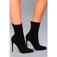 7ef9c7295126 Steve Madden Century Black Mid-Calf Sock Booties ( 129) ❤ liked on  Polyvore. Leather High Heel ...