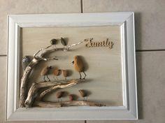 Bird family pebble art
