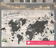 Personalized Travel World Map Pin Cork Board - Couples Wedding Gift Valentines Unique Holiday Girlfriend Wedding Decor Home Family Boyfriend World Map Pin Board, World Map With Pins, Anniversary Gifts For Husband, Cork Board Map, Apartment Decorating For Couples, Wood World Map, Wooden Map, Valentines Gifts For Him, Viajes