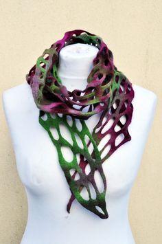 50% OFF Felted scarf silk wool nuno by AleksandrabWiniarska