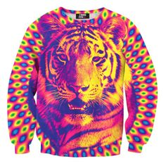 Psychedelic Trippy Tiger Face Graphic Rainbow Print Unisex Pullover Sweatshirt Sweater | Gifts for Animal Lovers