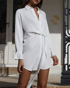 Shop Solid Knotted Front Shirt Dress right now, get great deals at joyshoetique Trend Fashion, Fashion Line, White Fashion, Chic Outfits, Fashion Outfits, Collared Shirt Dress, Apron Dress, Work Wardrobe, Classy Women