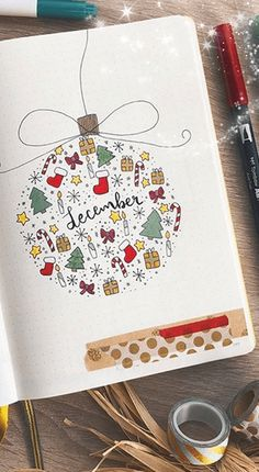 Christmas Bullet Journal Ideas I'm working on my December bullet journal set up right now. Here are some Christmas themed bullet journal ideas I found for inspiration! Will be posting my own December bujo . Bullet Journal December, Doodle Bullet Journal, Bullet Journal Christmas, Bullet Journal Writing, Bullet Journal Cover Page, Bullet Journal Aesthetic, Bullet Journal Notebook, Bullet Journal Ideas Pages, Bullet Journal Spread