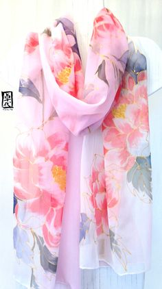 Hand painted Silk Shawl Scarf, Kimono Pastel Pink Japanese Peonies Ombre Scarf, Pink, Warm Red. Silk Chiffon Scarf. Approx 20x88 in. on Etsy, $200.00