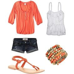 Spring - coral Henley with a site spaghetti and Jean shorts with summer shoes