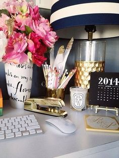 Dress up your desk | navy/white stripes, gold accents and pink flowers