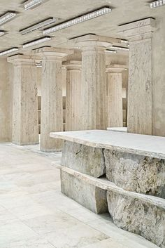 arquitectura-G curates archeological mood with its stockholm acne studios Marble Furniture, Neoclassical Architecture, Interior Architecture, Marble Columns, Banks Building, New Backgrounds, Brutalist, Architectural Digest, Minimalist Design